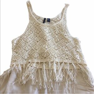 ❤️ Crochet Tank Top / Festival Top with Fringe